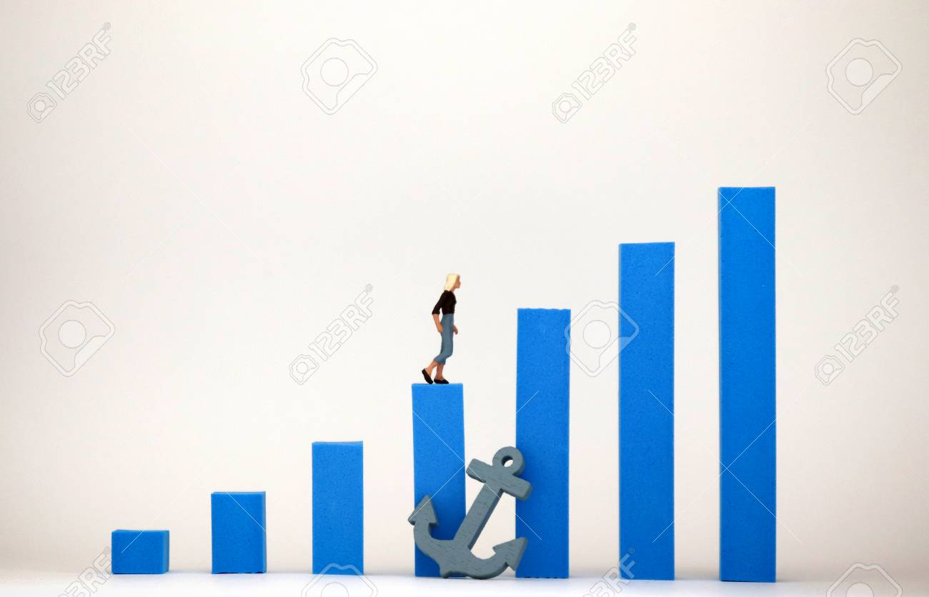 Blue bar graph and miniature woman. Social environment concept that makes it difficult for women to be promoted. - 102899280