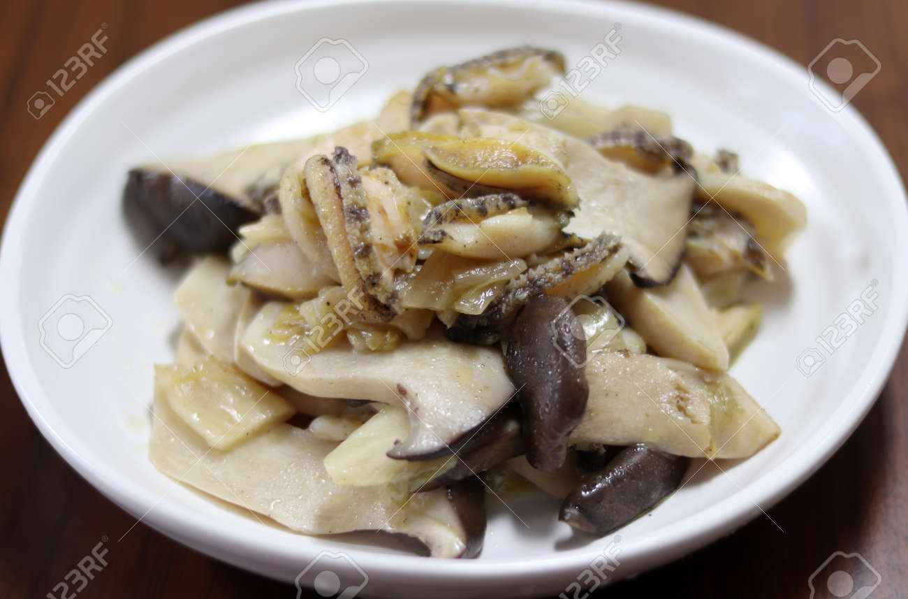 Abalone and oyster mushroom stir-fry. The concept of food and health. - 172029693