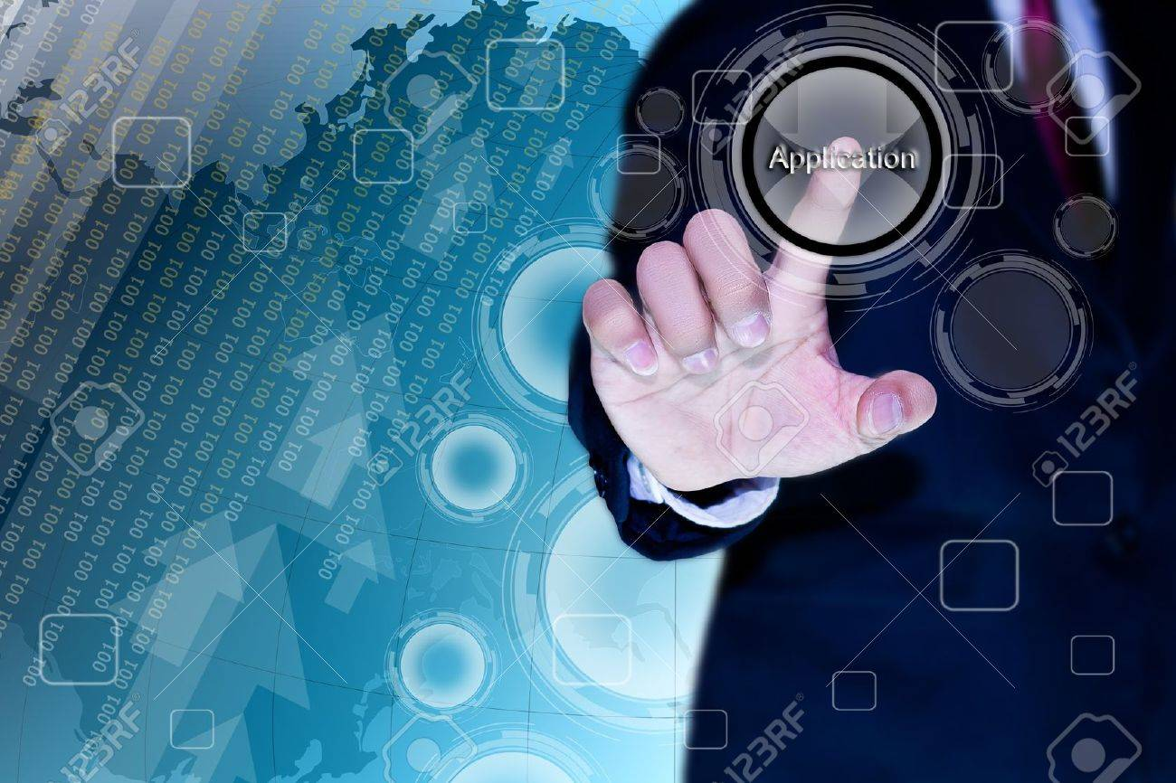 hand of business man pushing a button on a touch screen interface Stock Photo - 12806729