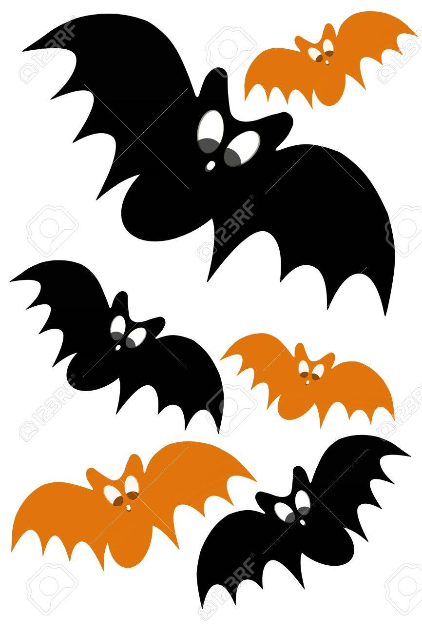 halloween concept design with black and orange bat Stock Photo - 15326403