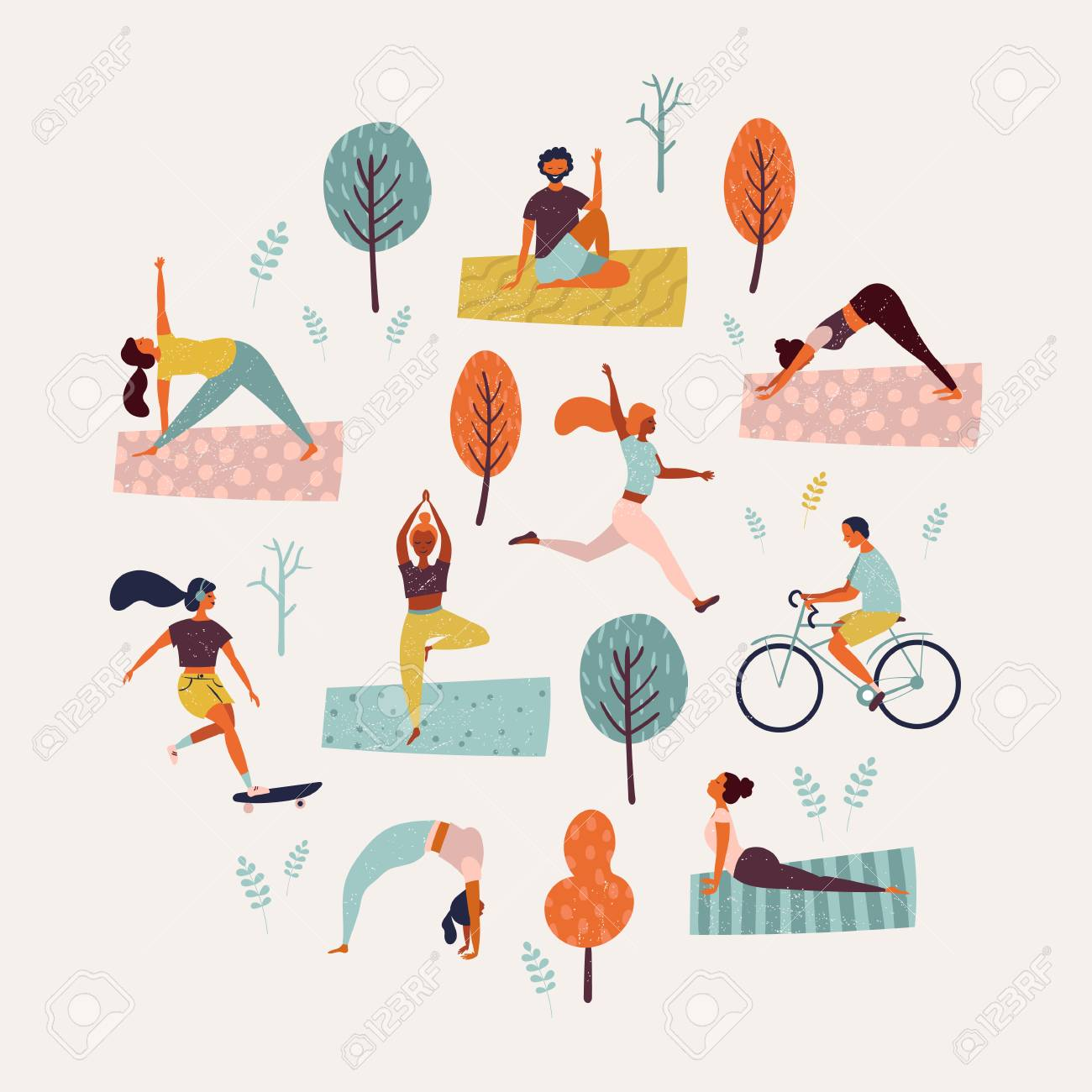 f2934fb0c79d World Health Day. Healthy lifestyle. Set of vector illustration..