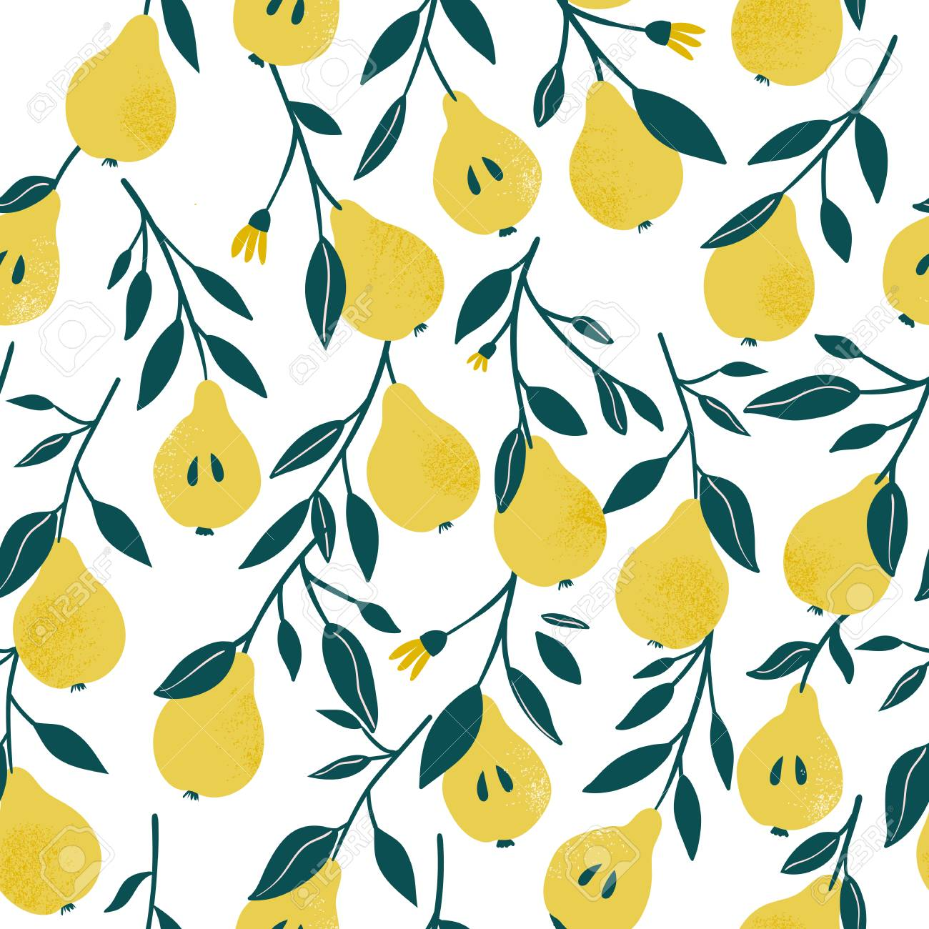 Ð¡ute vector seamless pattern with yellow pear. Fruit background. Vector bright print for fabric or wallpaper. - 111883386