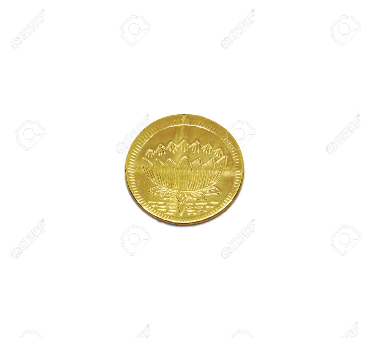 Lotus Flower Golden Coin Isolate On A White Background