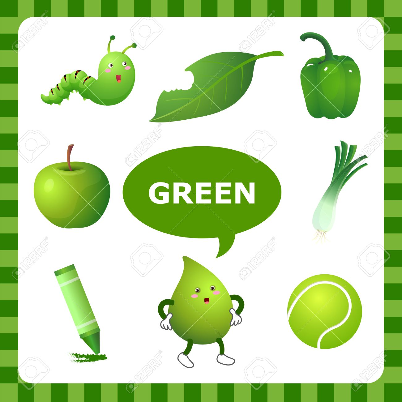 Learn The Color Green Things That Are Green Color Royalty Free ...