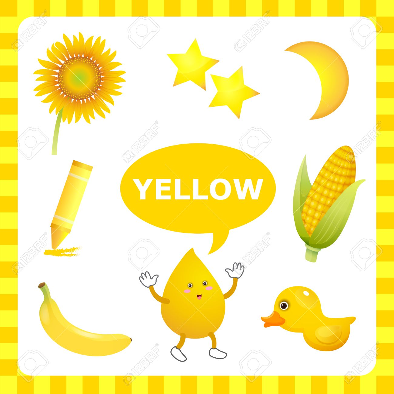 Learn The Color Yellow Things That Are Stock Vector