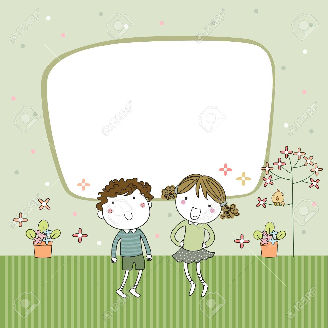 Delightful Greeting Card Templates With Cute Boy And Girl Stock Vector   40625278