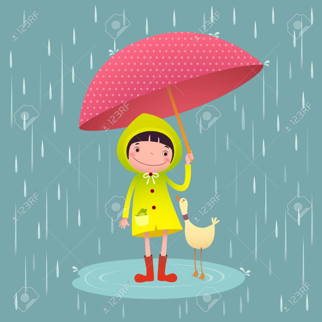 illustration of cute and friends with umbrella in rainy