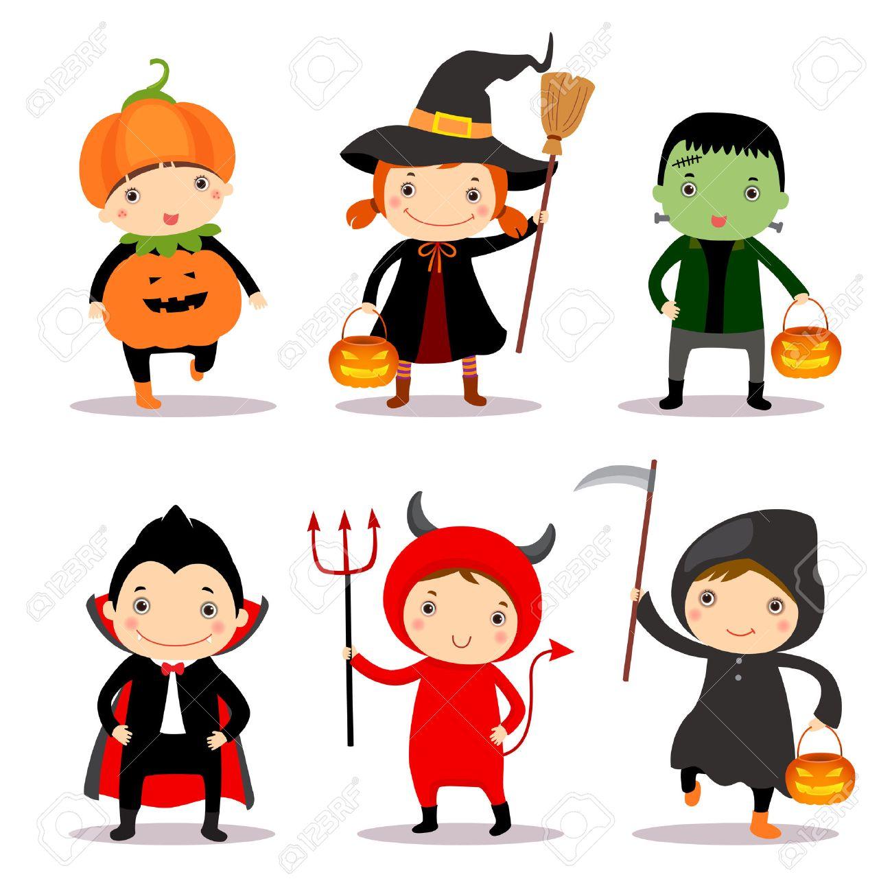 Cute kids wearing halloween costumes - 44221517