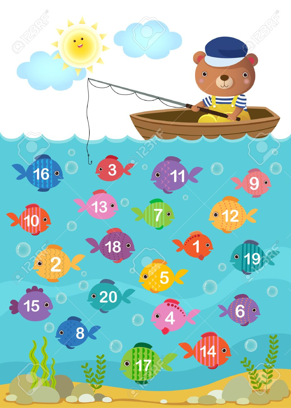 Worksheet for kindergarten kids to learn counting number with cute bear Stock Vector - 45761266