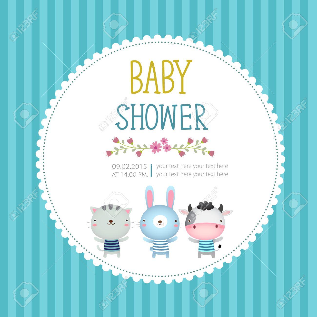 Illustration of baby shower invitation card template on blue illustration of baby shower invitation card template on blue background stock vector 45761265 filmwisefo Images