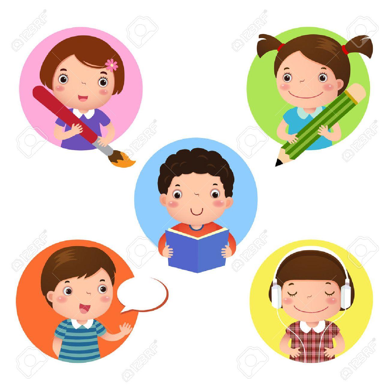 子供たちのマスコット学習のイラスト セット書く図面リーディング