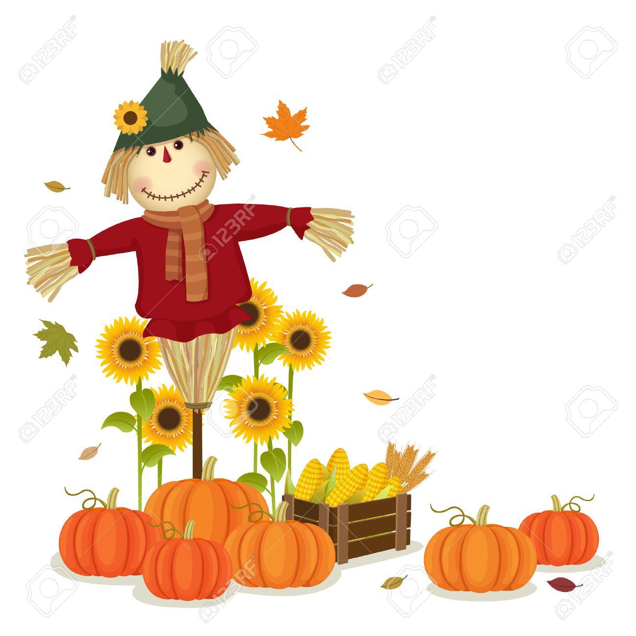 かわいいかかしおよびカボチャと秋の収穫のイラストのイラスト素材
