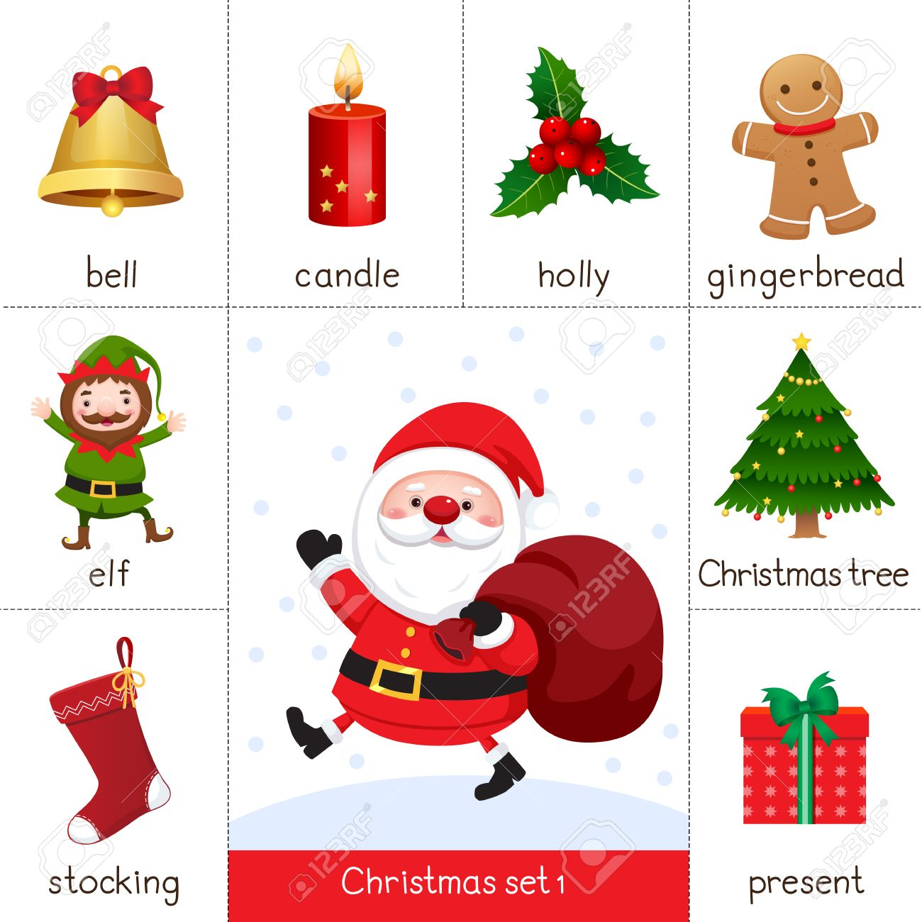 Illustration Of Printable Flash Card For Christmas Set And Santa