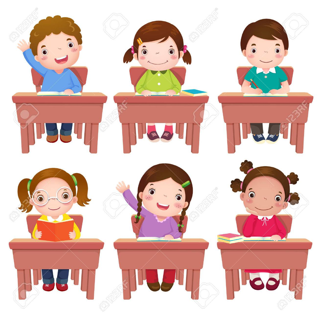 Collection Of School Kids Sitting On Table Stock Vector   51009960