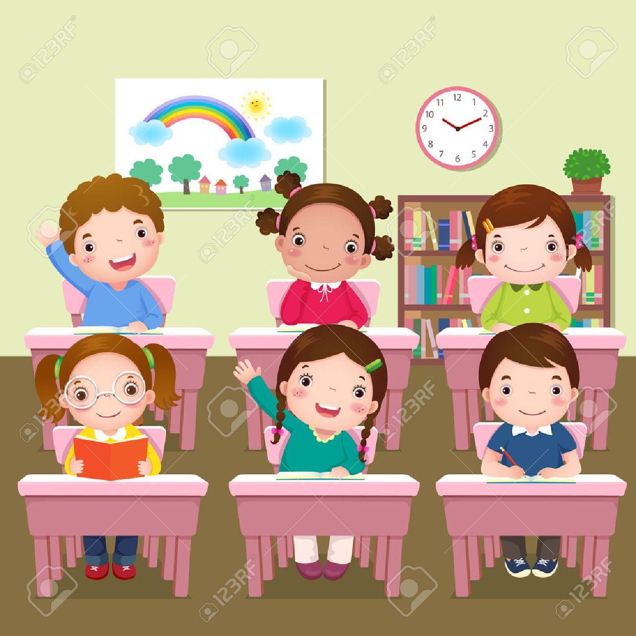Illustration of school kids studying in classroom - 51009961