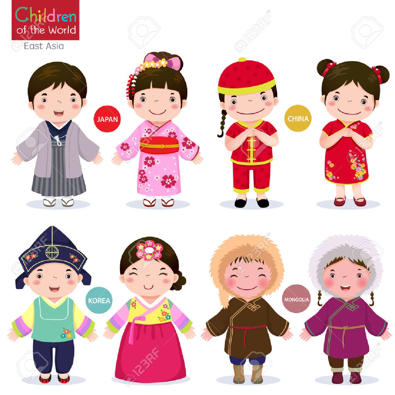 2648116b3 Kids in traditional costume Japan, China, Korea and Mongolia Stock Vector -  51222634