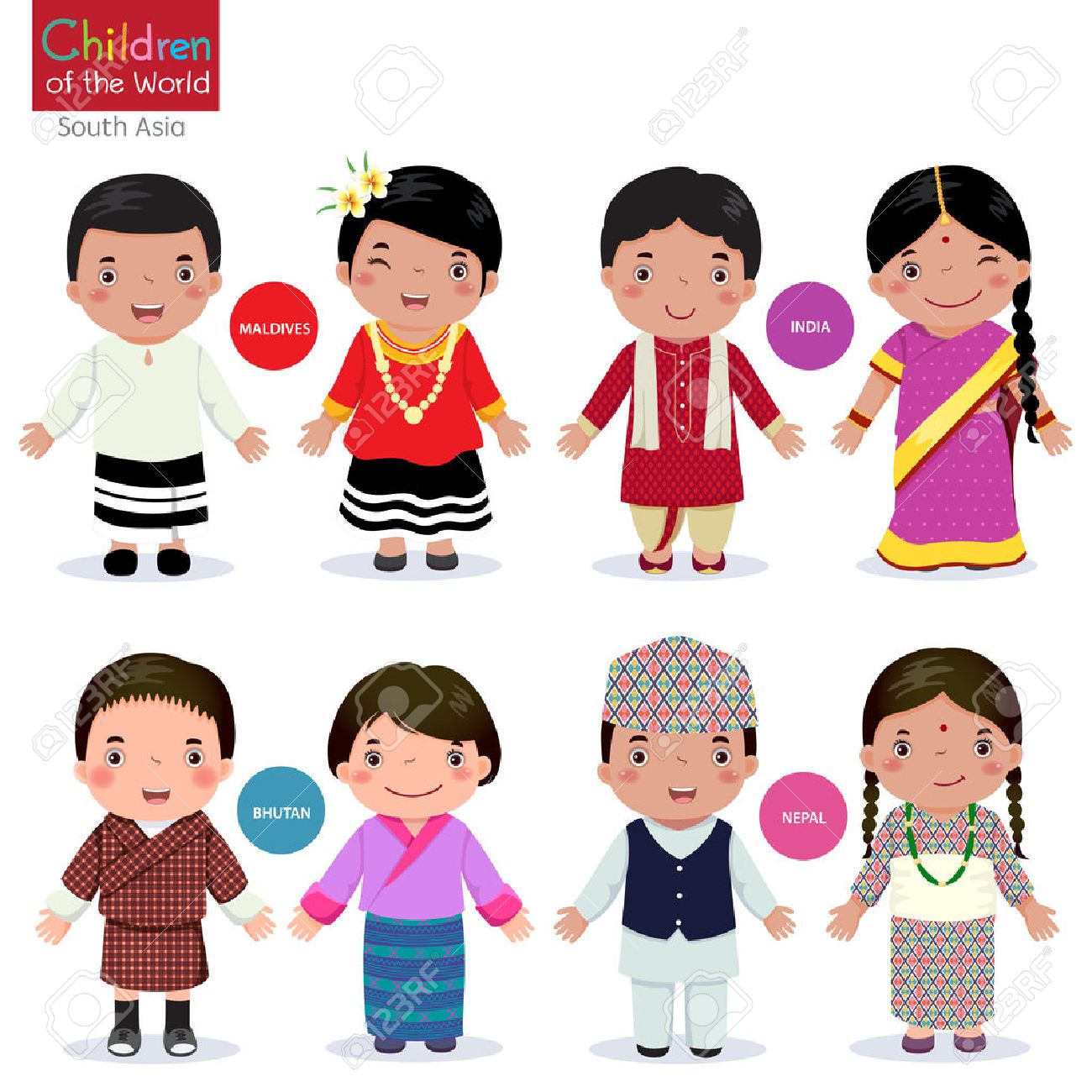 Kids in traditional costume Maldives, India, Bhutan and Nepal - 51222624