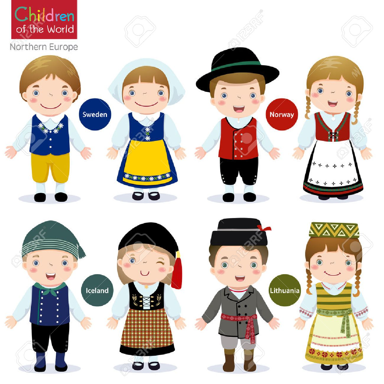 Kids In Traditional Costume Sweden, Norway, Iceland And Lithuania ...