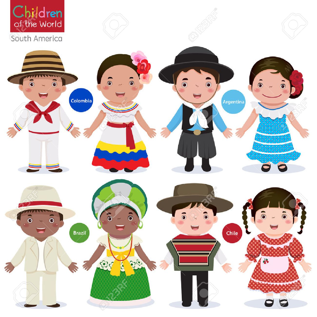 Kids in traditional costume-Colombia-Argentina-Brazil-Chile Stock Vector - 53195111  sc 1 st  123RF.com & Kids In Traditional Costume-Colombia-Argentina-Brazil-Chile Royalty ...
