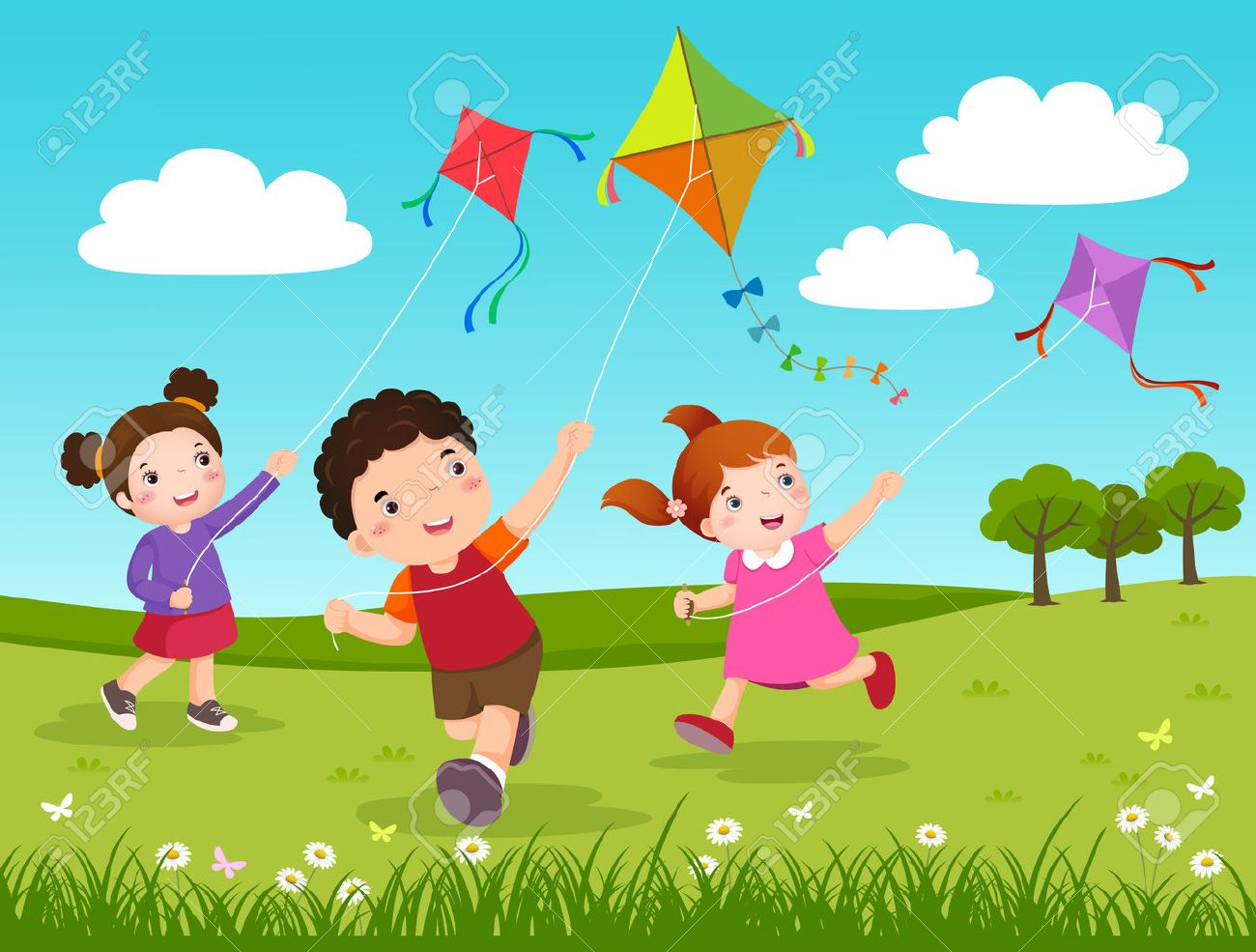 Vector Illustration of three kids flying kites in the park - 53195113