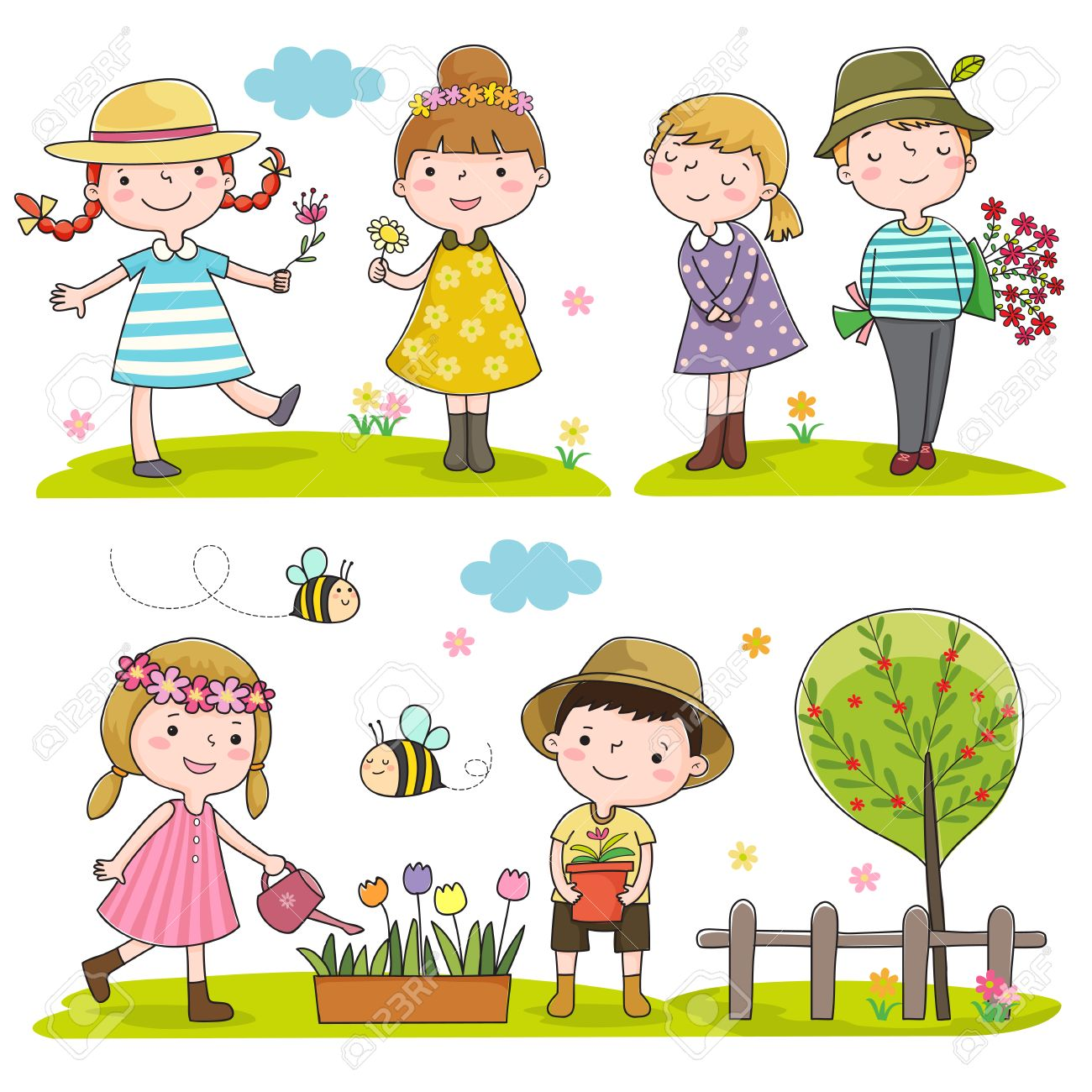 collection of happy kids outdoor in spring season royalty free rh 123rf com spring season background clipart spring season clipart images