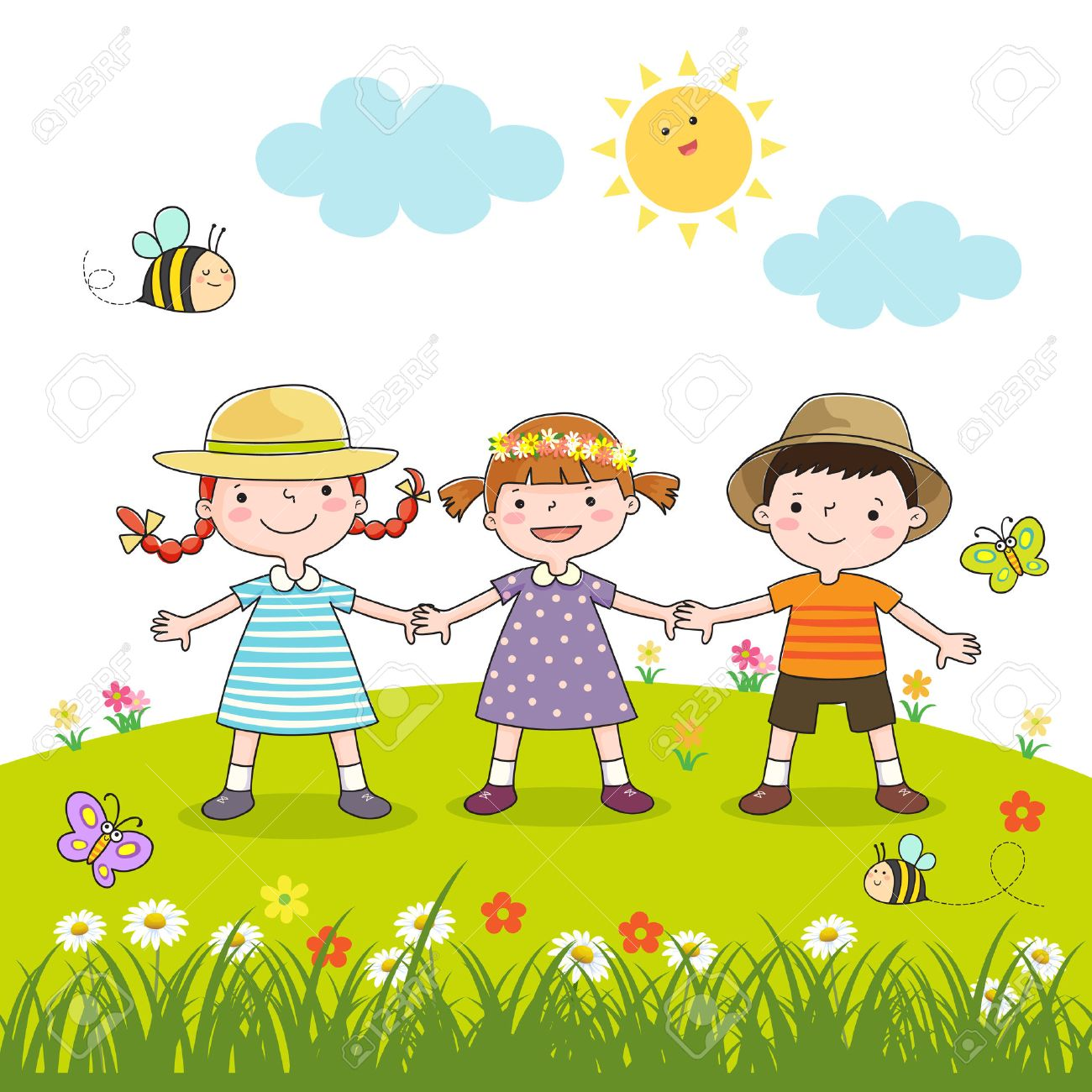 Happy children holding hands on blossom meadow - 53195119