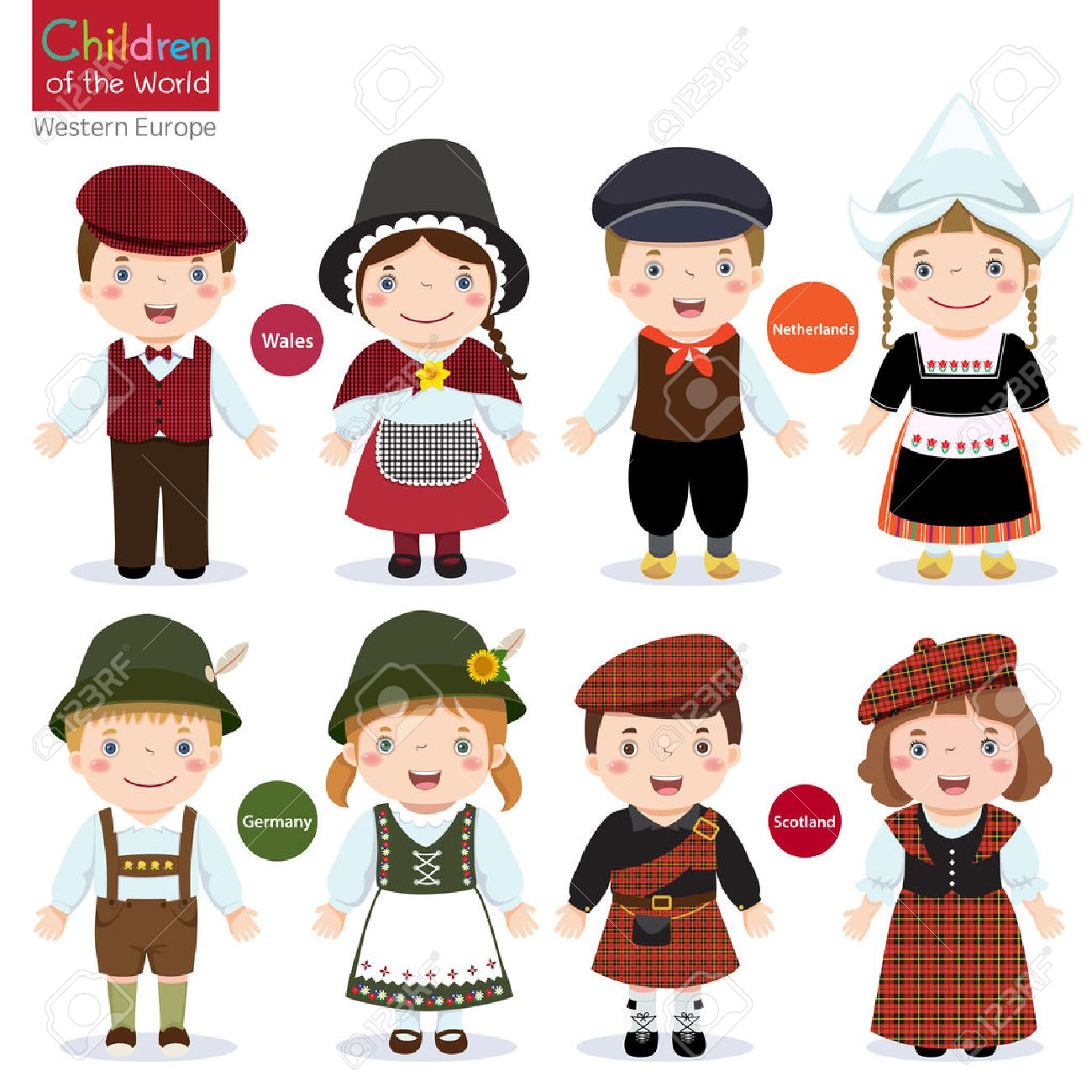 Kids in different traditional costumes Wales, Netherlands, Germany, Scotland - 53195129