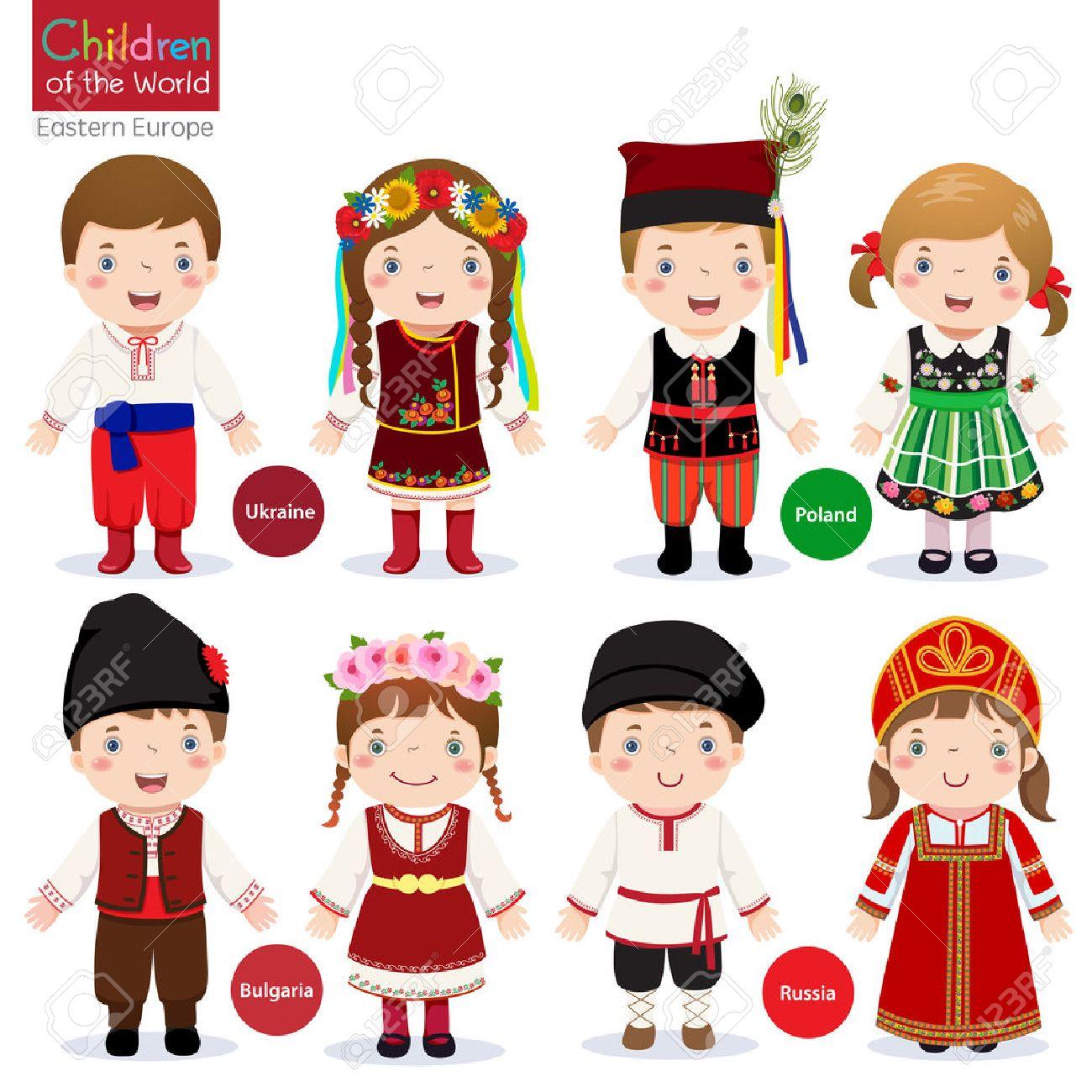 Kids in different traditional costumes Ukraine, Poland, Bulgaria, Russia - 53195127