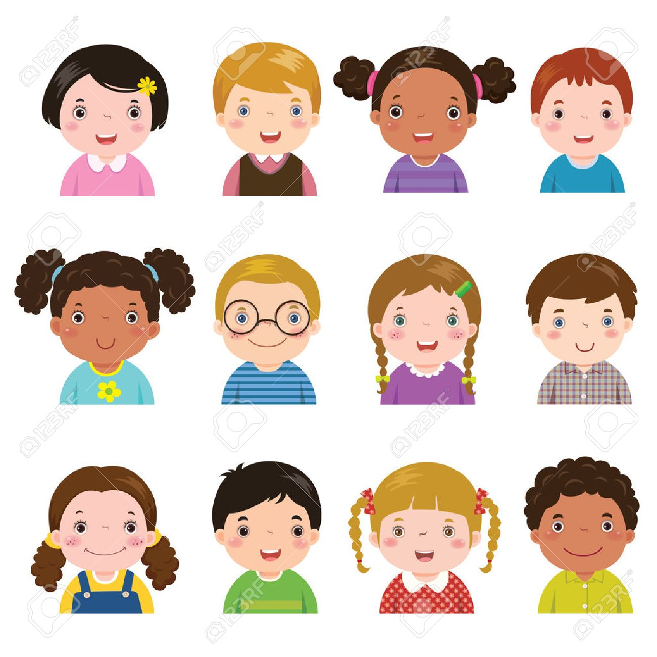 Vector illustration set of different avatars of boys and girls on a white background. Different skin tones, hair colors and styles. - 53195128