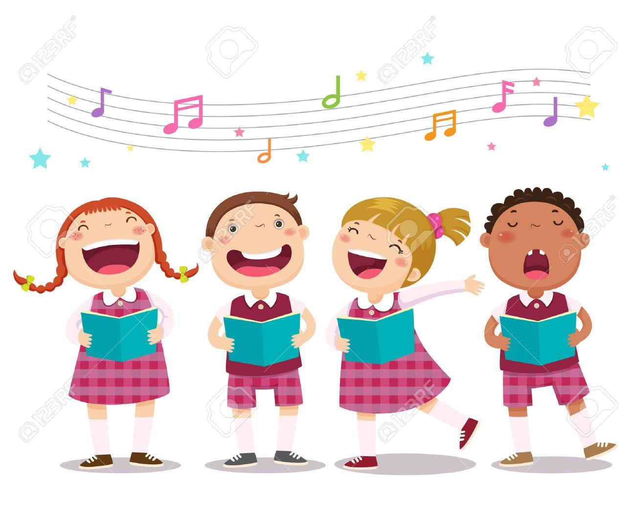 合唱団の女の子と歌を歌っている男の子のベクトル イラストのイラスト