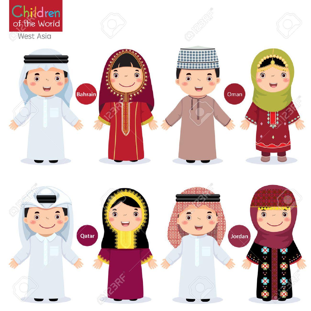 Kids in different traditional costumes (Bahrain, Oman, Qatar, Jordan) - 54931389