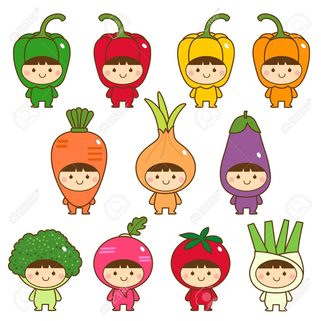 子供たちのかわいい野菜の衣装のセット ロイヤリティフリークリップ