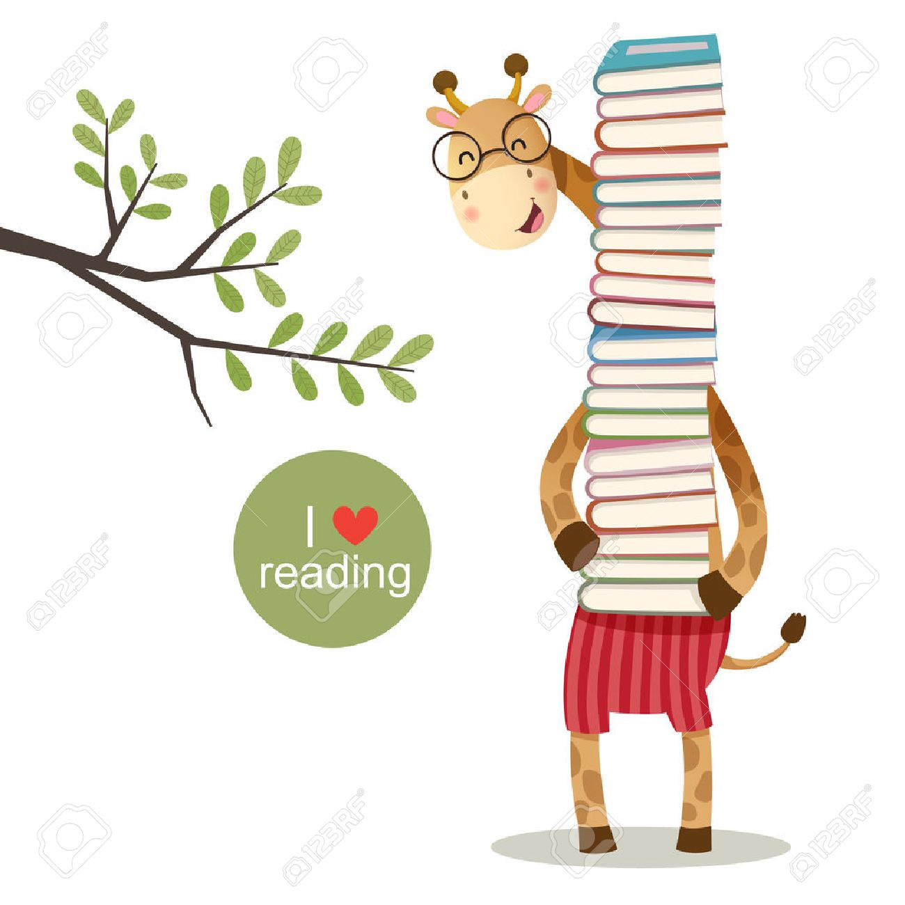 illustration of cartoon giraffe holding a pile of books - 54931396