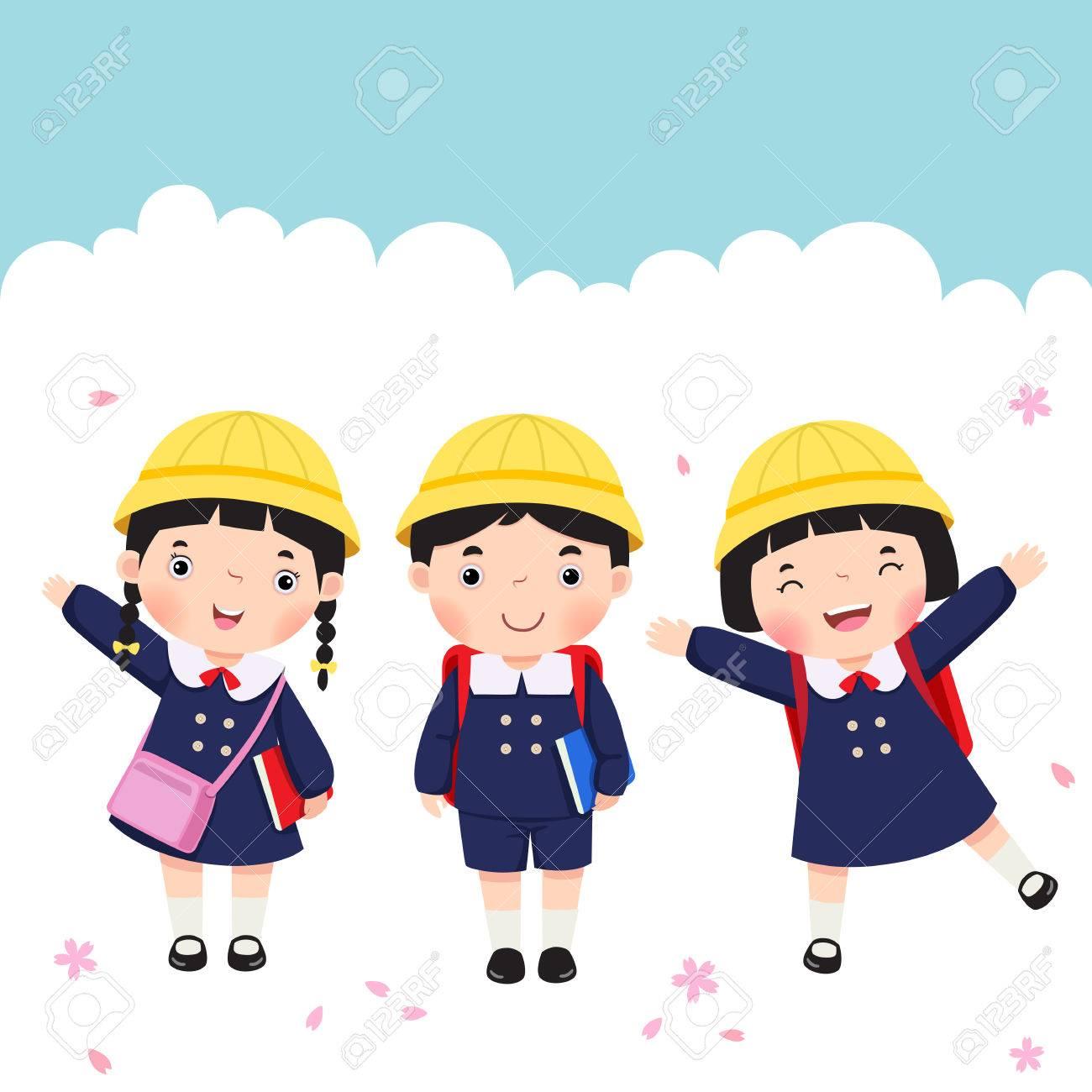 Vector illustration of Japanese student in school uniform going to school - 56089298