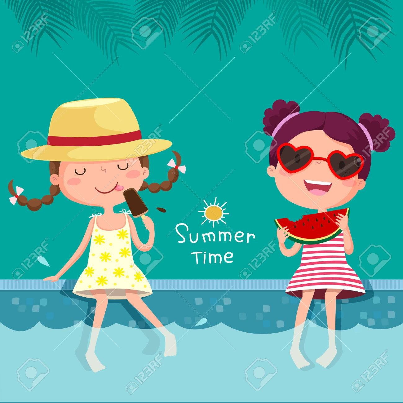 illustration of two girls eating ice cream and watermelon at the pool - 57156988