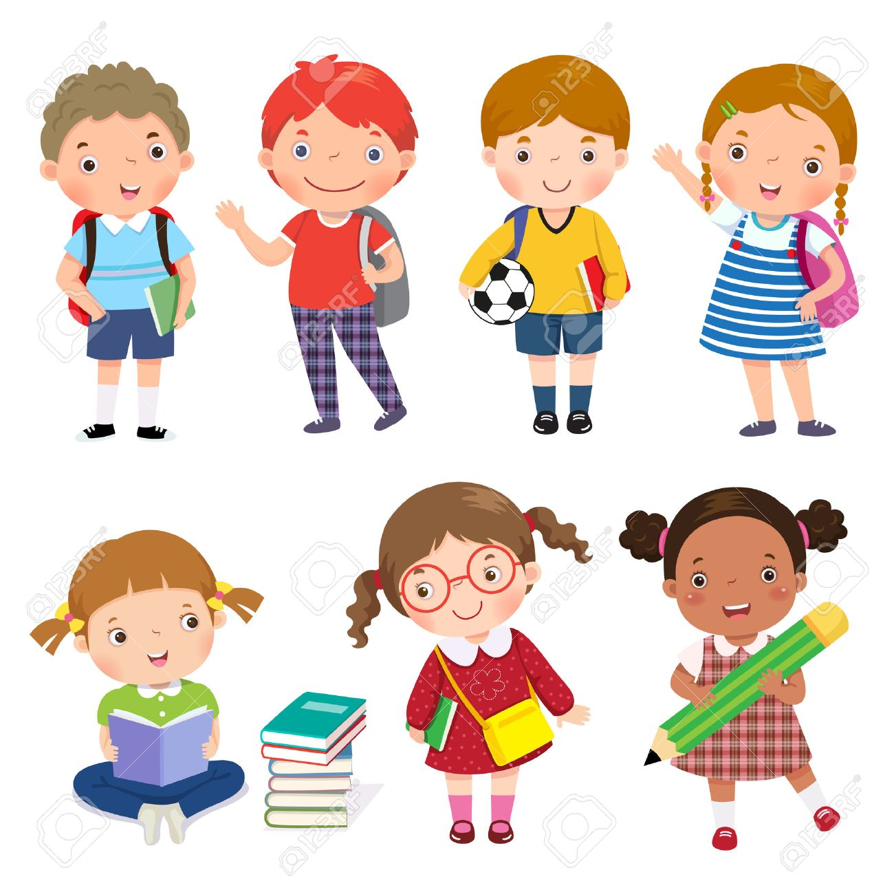 Back to school. Set of school kids in education concept. - 57753758