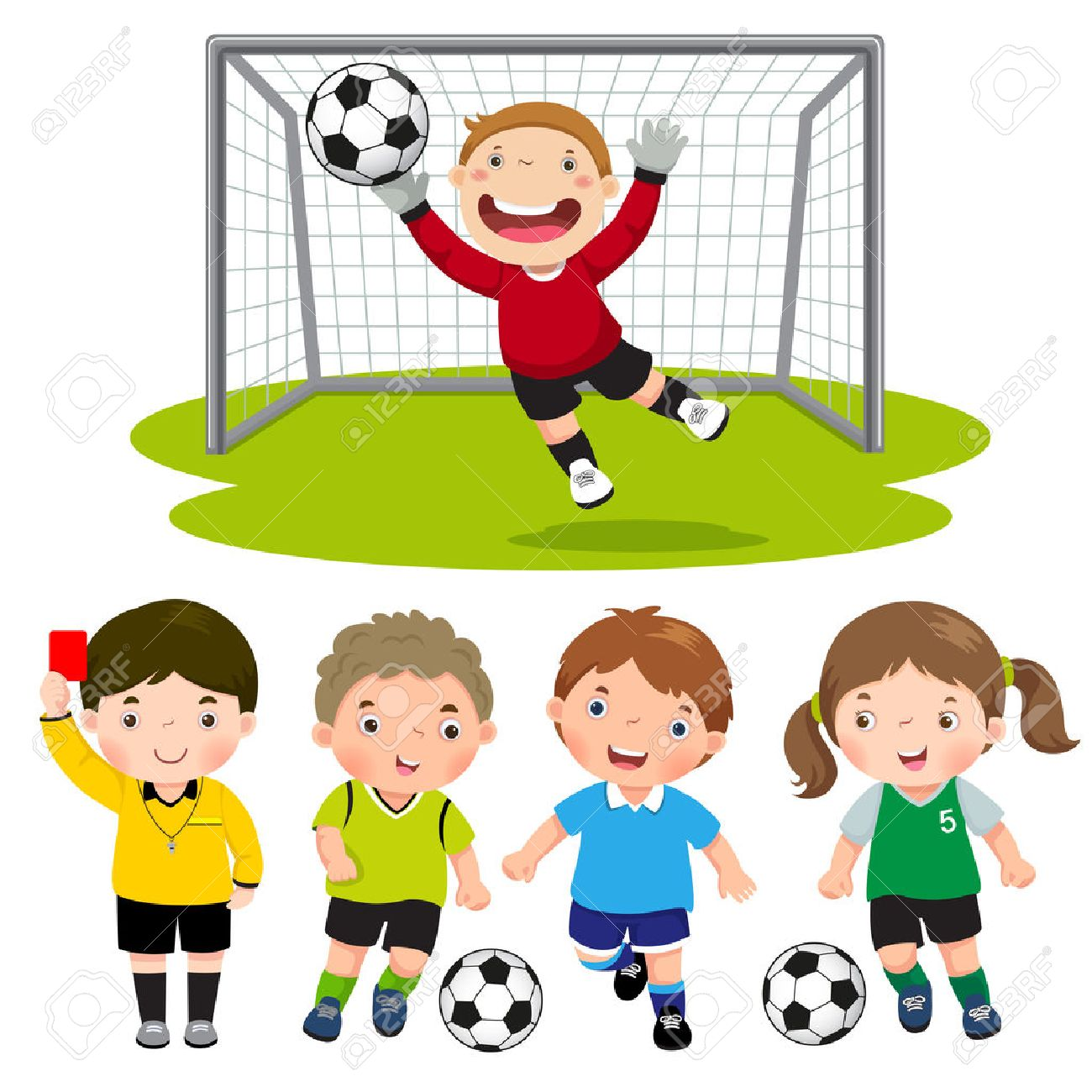 Set of cartoon soccer kids with different pose - 57753762