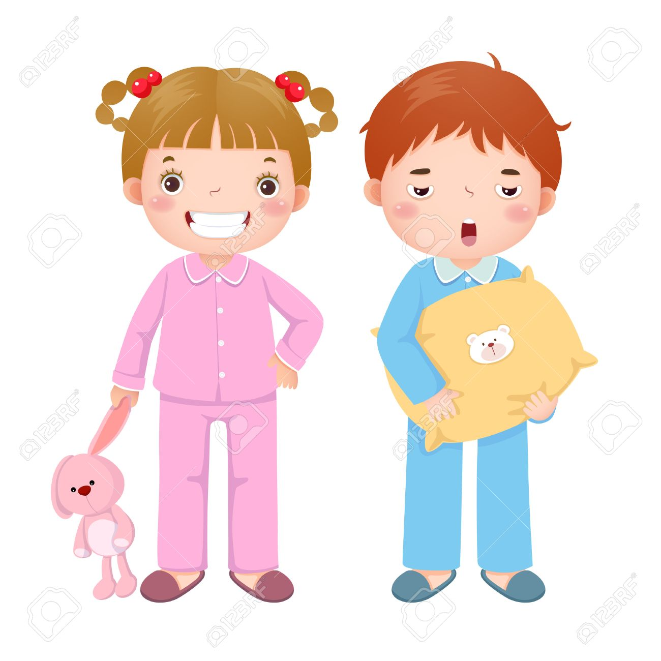 Vector illustration of children wearing pajamas and getting ready to sleep - 64963530