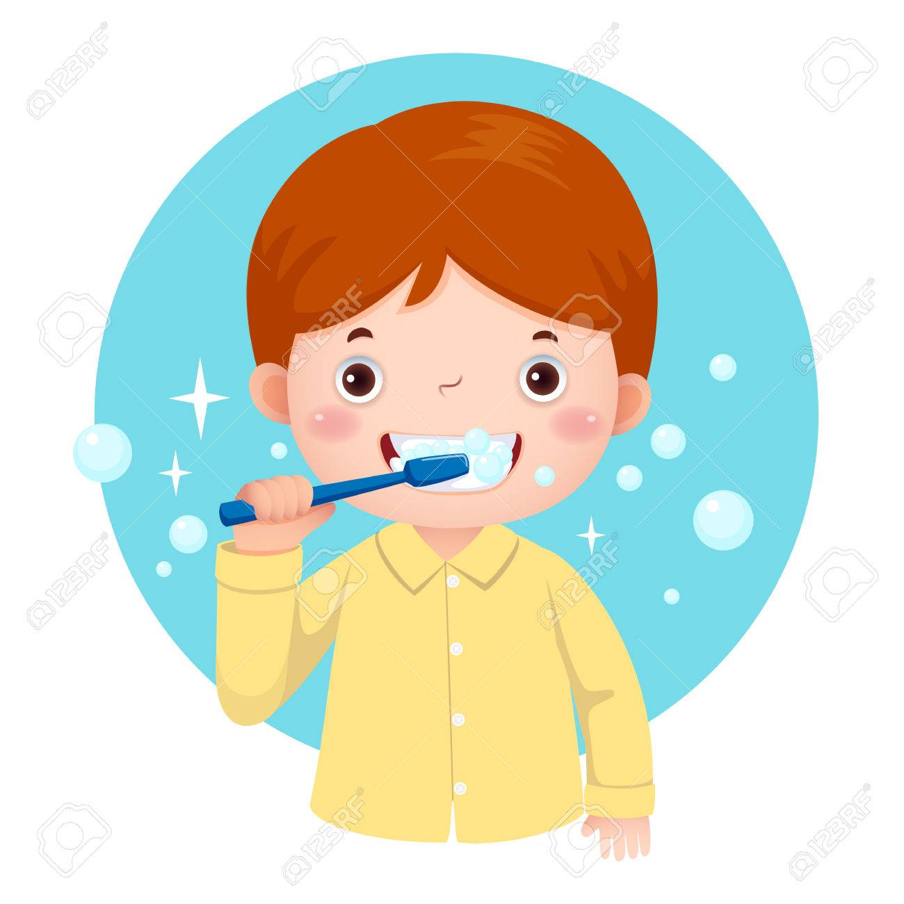 vector illustration of cute boy brushing his teeth royalty free