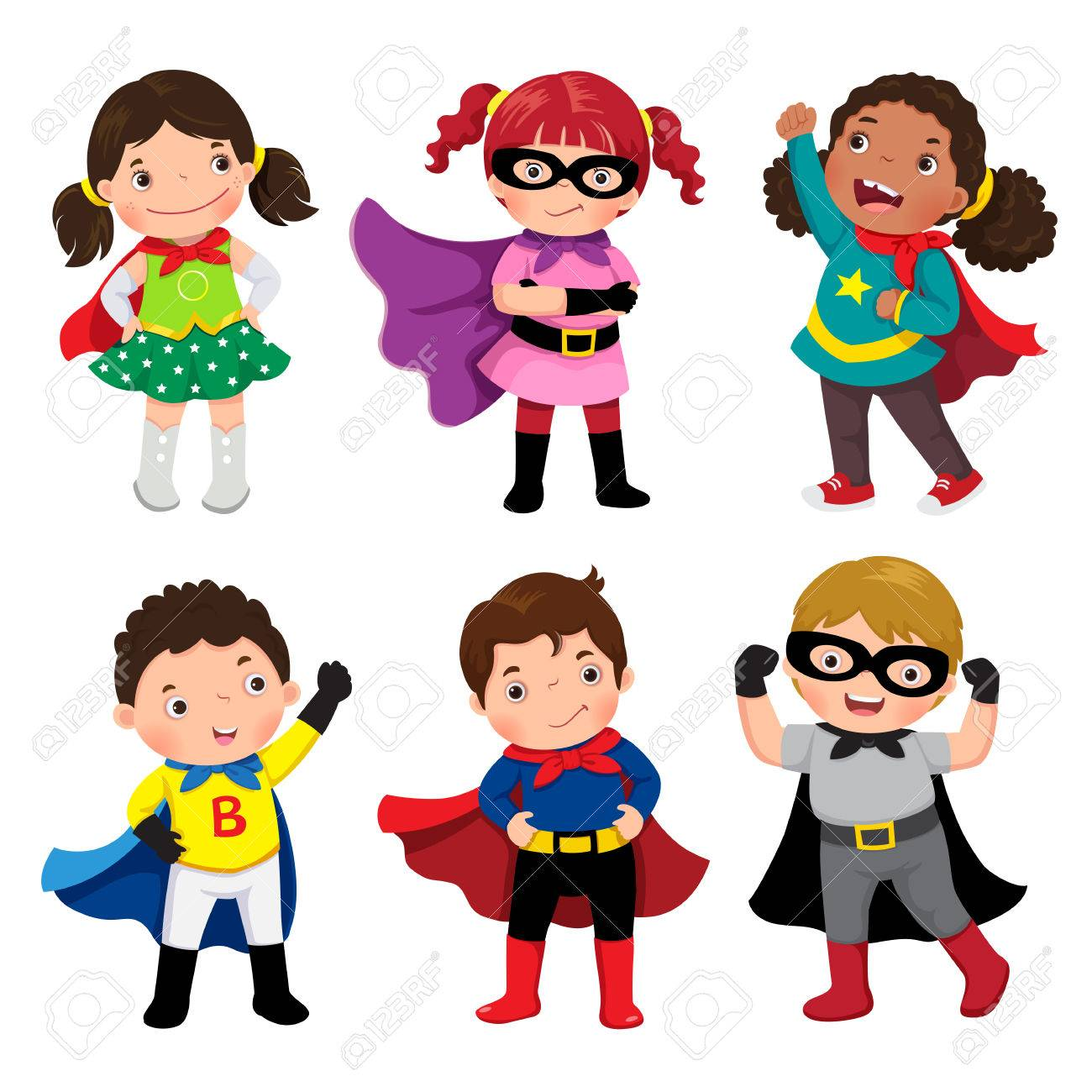 Boys and girls in superhero costumes on white background - 70260224