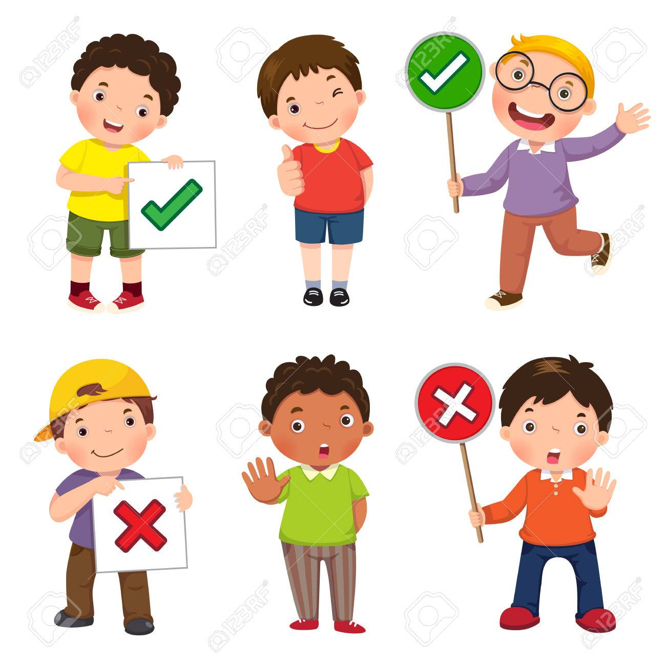 Set of boys holding and doing right and wrong signs - 71309271