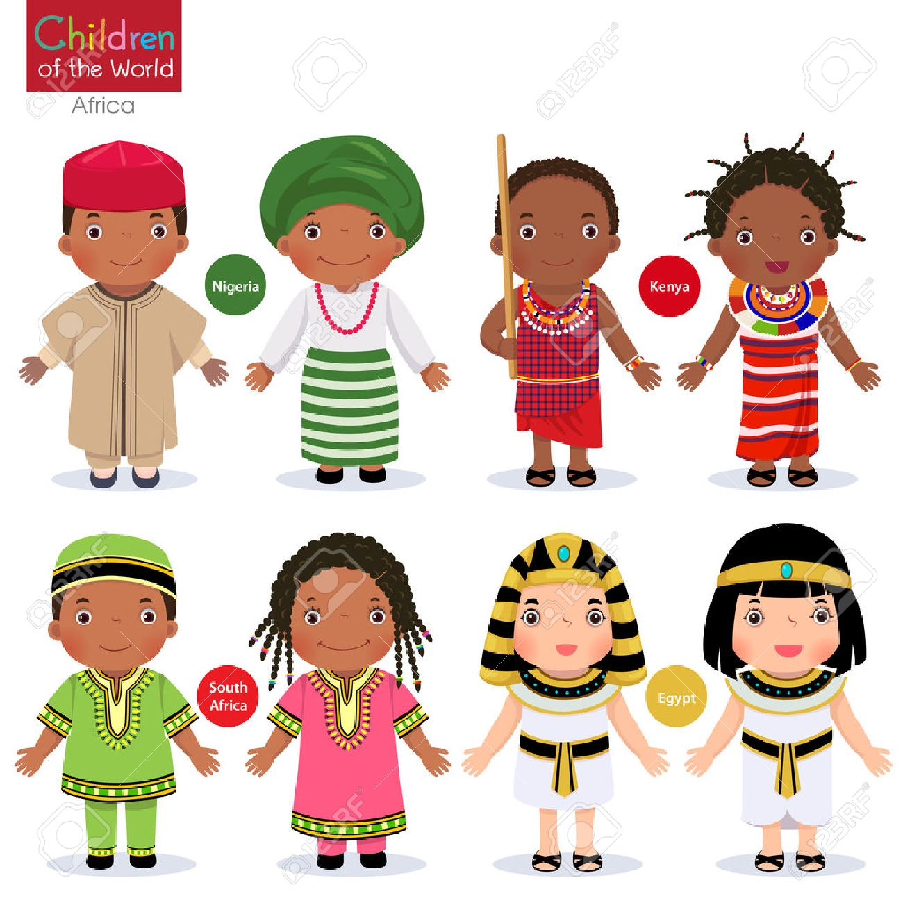 Kids in different traditional costumes. Nigeria, Kenya, South Africa, Egypt. - 77260222