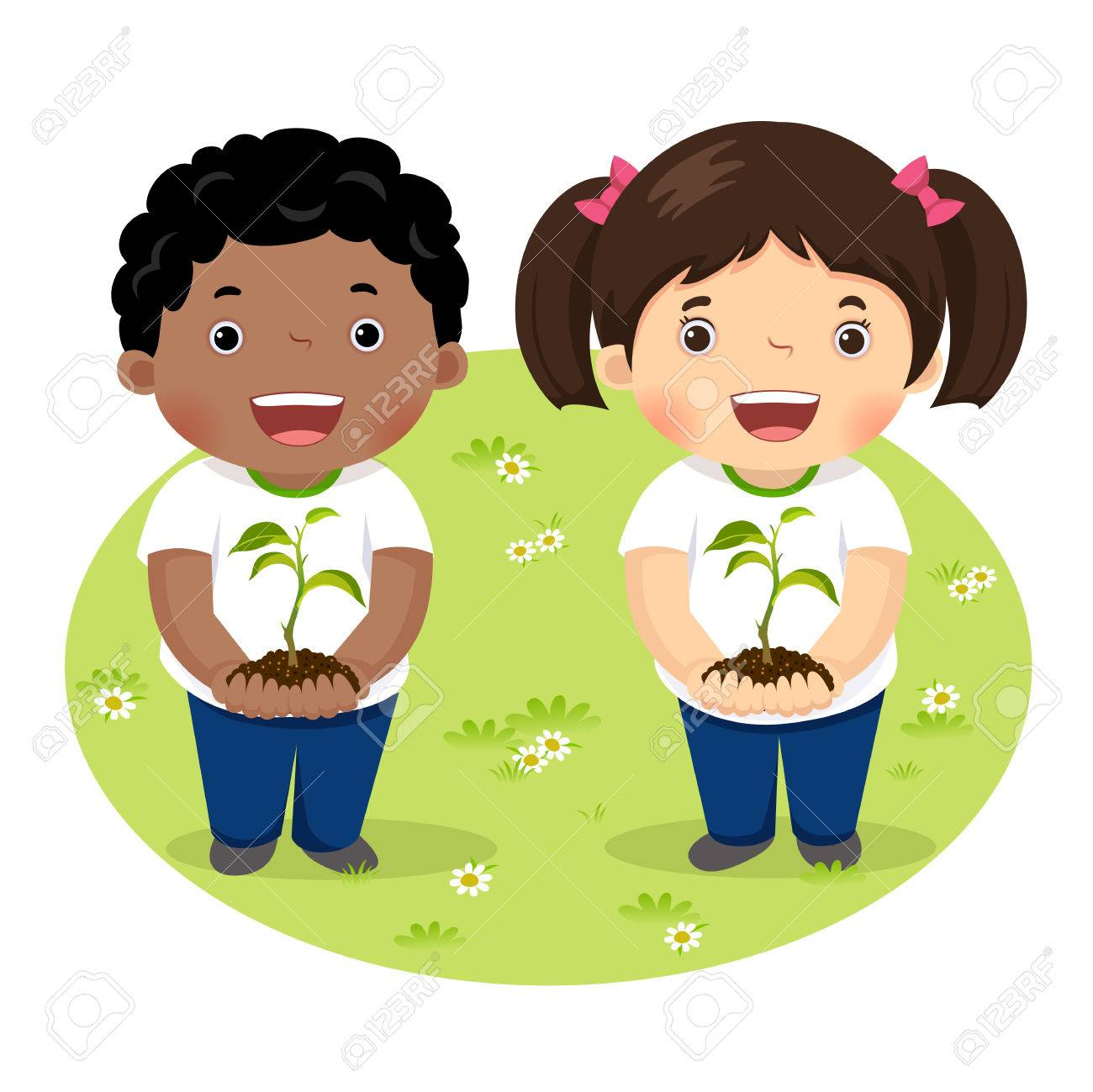 Kids holding young plant - 77509431