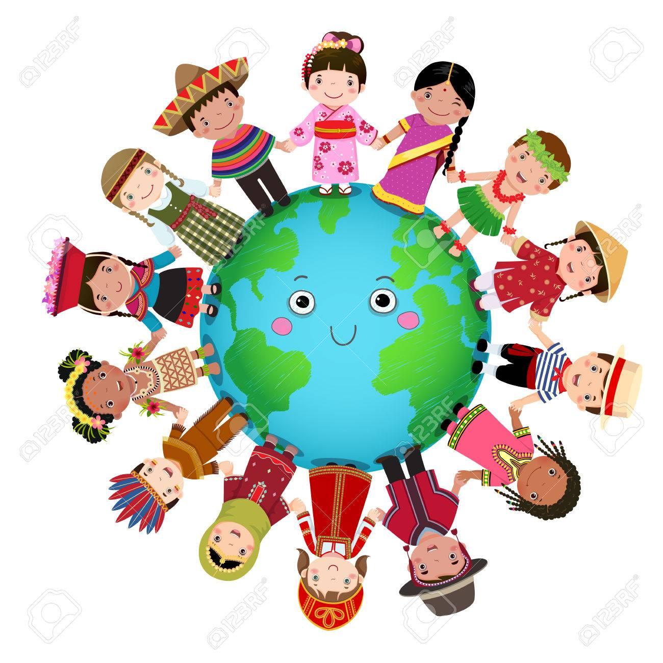 Multicultural children holding hand around the world - 79331538
