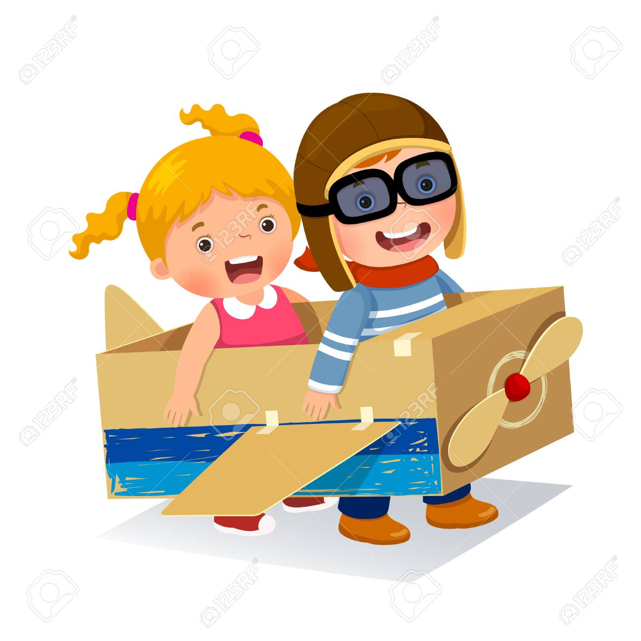 Creative boy playing as a pilot with cardboard airplane - 80107980