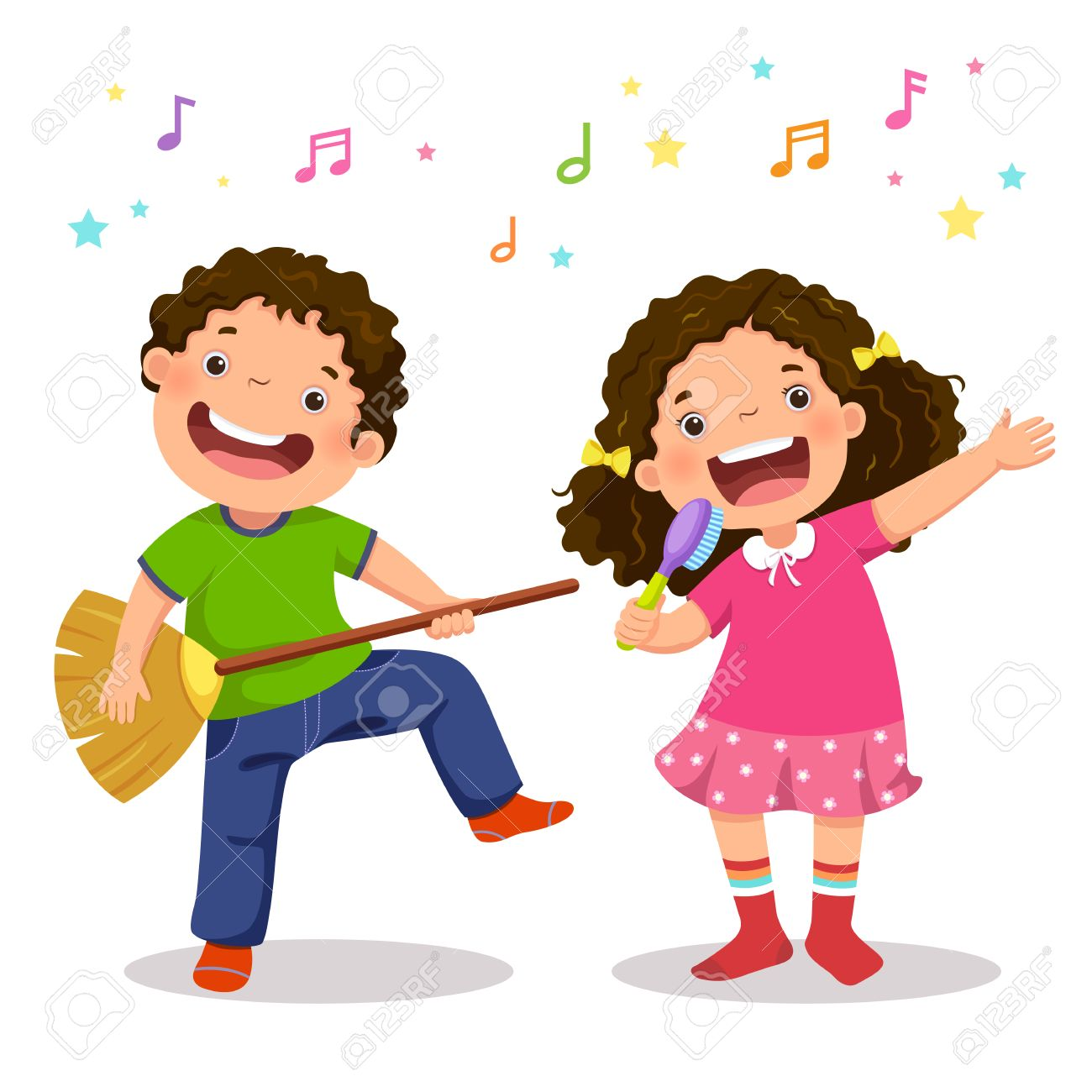 Creative boy playing virtual guitar with broom and girl singing with hairbrush - 80107985