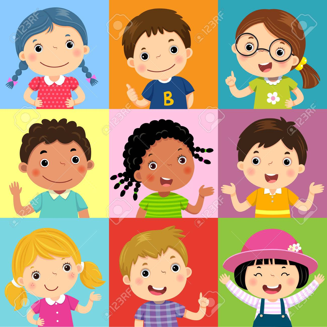 Vector illustration set of different kids with various postures - 85279223