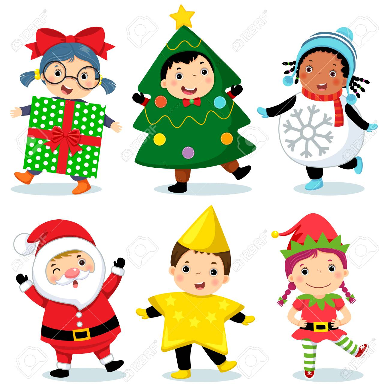 Vector illustration of cute kids wearing Christmas costumes - 89095917