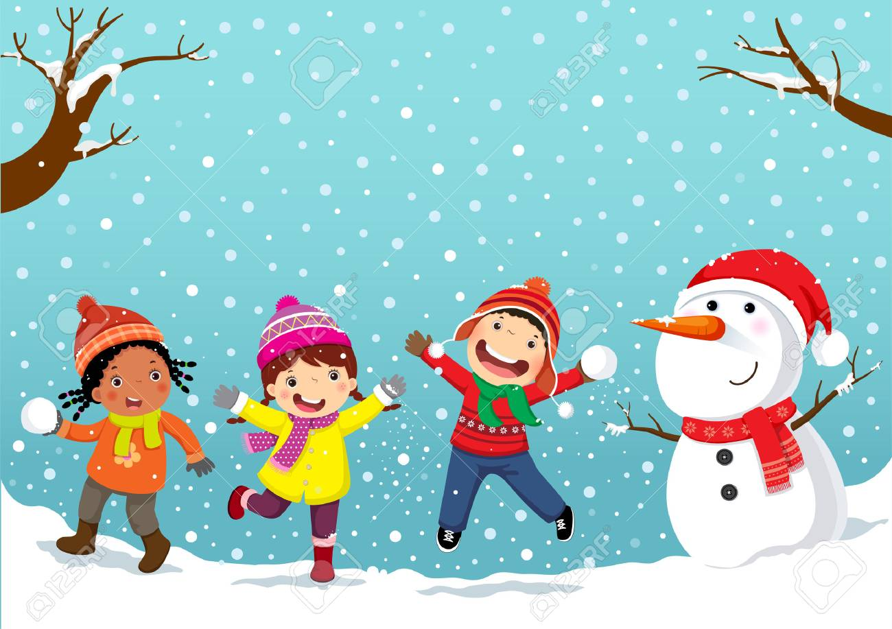 Winter fun Happy children playing in the snow - 89220193