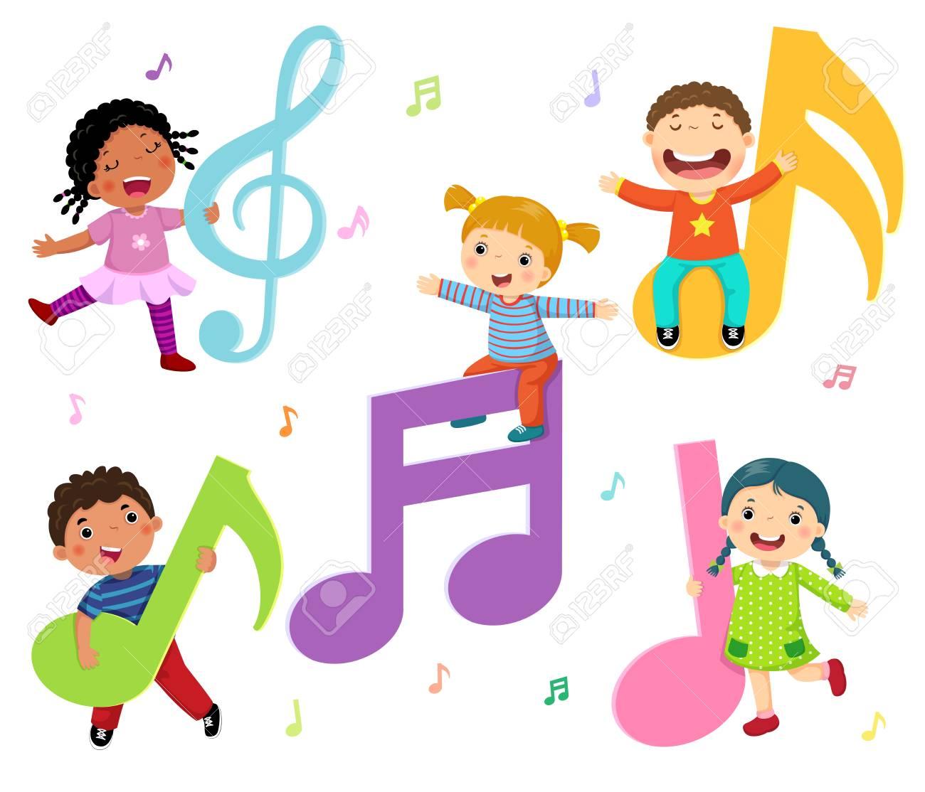 Niños De Dibujos Animados Con Notas Musicales Ilustraciones ...